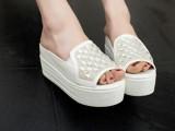 2014夏季新款潮流欧美水钻坡跟厚底松糕鞋鱼嘴凉拖鞋女士拖鞋批发