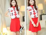 2014夏季新款 法国绒Q趣猫咪多多圆领上衣+红色短裙两件套套装