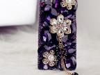 iPhone5S手机壳苹果4保护套三星note3S5手机套紫色妖姬钻壳代发