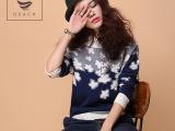【迪雀】2014秋冬针织衫 时尚花朵套头羊毛衫 女式圆领打底毛衣
