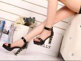 新款爆单欧美女凉鞋 防水台缕空镀金高跟粗跟女单鞋 真皮女鞋