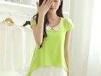 2014夏装新款 修身中长款打底衫上衣 女 短袖雪纺衫
