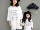 韩版春季新品亲子装优美气质风镂空蕾丝儿童八分袖长T恤一件代发
