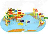 木制儿童益智玩具插旗 世界地图立体插国旗
