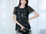 春夏新款韩版女装显瘦修身大码假两件雪纺连衣裙夏短袖
