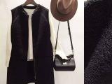 欧美2015秋冬新款羊毛马甲批发欧洲站高端拼接羊皮背心微信代理