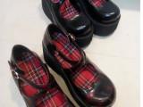 外贸马丁鞋 欧美个性大圆头复古交叉带 厚底松糕跟坡跟单鞋女鞋子