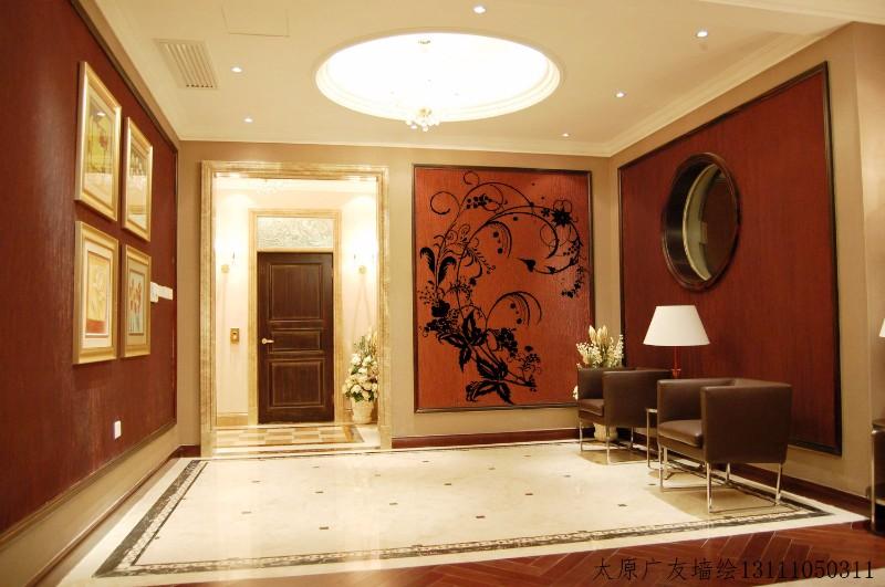 山西墙绘 手绘电视墙 餐厅墙绘 卧室手绘 玄关手绘 风水画