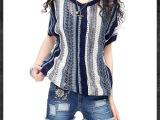 2014新款艺术复古镂空蝙蝠袖正反两穿春夏新款百搭显瘦条纹针织衫
