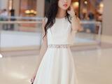 2015韩版夏季新款蕾丝修身连衣裙 女装无袖假两件雪纺连衣裙低价