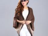 2014秋季新款渐变色女式针织衫 欧美宽松大码蝙蝠袖气质针织开衫