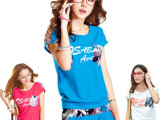 春夏韩版T恤夏装 短袖七分裤印花时尚运动套装 (纯棉)卫衣套装