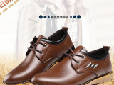 新品男士精品皮鞋英伦系带男鞋秋款时尚牛筋底休闲鞋微信淘宝代发