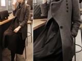 韩国代购2013秋冬韩版修身毛呢大衣女羊毛呢中长款呢子外套