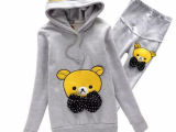 2014秋季新款韩国时尚孕妇套装批发可爱丝带小熊孕妇托腹运动套装