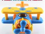 盛川乐动e族 电动万向飞机 卡通七彩发光音乐儿童电动玩具批发
