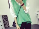 2015秋装新款韩版中长款无袖宽松V领针织毛衣背心马甲女