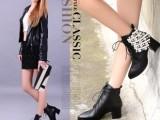 2014年欧美新款牛皮真皮女士短靴女靴粗跟高跟水钻尖头系带女鞋子