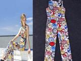 高档女装 印雨伞修身圆领无袖连体裤 夏装新款女装 Y15Q40