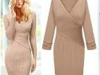 新款 2013欧美大牌V领包臀修身显瘦针织连衣裙  包臀裙