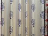 厂家直销欧式田园风格色织麻布阳离子提花窗帘布遮光麻布窗帘