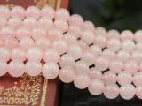 【爆亏】批发天然巴西粉水晶散珠 芙蓉晶条珠半成品 粉种粉晶串珠
