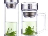水晶玻璃杯 创意礼品保温杯子 透明双层茶杯 广告礼品定制 印lo