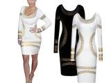 亚马逊Ebay热卖明星卡戴珊同款烫金边印花长袖连衣裙dress