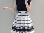 韩国代购 夏装新款娃娃领拼接条纹裙摆收腰修身连衣裙