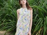 欧洲站夏季新款印花雪纺连衣裙 无袖雪纺中裙 欧美女装代理加盟