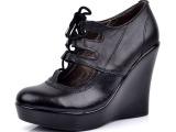 春秋新款外贸真皮女鞋清仓厚底松糕鞋坡跟单鞋子超高跟鞋34码195