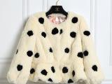 厂家直销气质兔毛女装外套皮草 整皮圆点长袖韩版小清新皮草