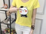 女生时尚迷人V领短袖T恤 厂家直销低价跑量6.5块