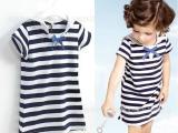 法单 海军领女童条纹短袖连衣裙 儿童纯棉裙子 外贸童装 JSH-