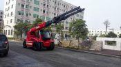 供应11吨石材炮车大板装卸专用车华南重工伸缩臂吊装车系列产品