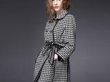 2014秋装新品英伦风格时尚中长款裙摆女士风衣外套带腰带0495