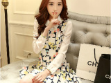 2014夏秋装新款韩版女装连衣裙 修身雪纺长袖碎花连衣裙