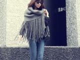 W08韩版脖套秋冬女纯色保暖围巾披肩超长流苏毛线套头围脖