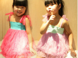 糖葫芦 女童连衣裙 新款童装 糖果色纱网多层蛋糕蓬蓬吊带裙