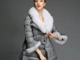 仿狐狸毛领秋冬新款女装冬装外套女士中长款大码羽绒服女款