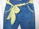 新款女式七分低腰牛仔裤 时尚绿色圆点元素