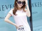 2015夏装新款韩版女式T恤纯色圆领打底衫镶钻修身纯棉短袖T恤衫女
