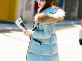 羽绒服女中长款修身加厚连帽2014秋冬韩版潮流大毛领冬季外套