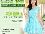 厂家直销2014夏装新款韩版潮流女装修身V领短袖 蕾丝连衣裙