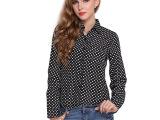 2015新款欧美女式黑色波点衬衫雪纺衫大码秋冬打底衫圆点长袖衬衣