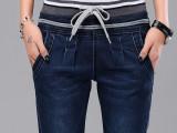 松紧腰女式牛仔裤高腰铅笔裤小脚牛仔长裤夏秋薄学生显瘦弹力大码