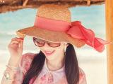 kaki粉色女韩版女士帽子草帽防晒拉菲草大沿遮阳帽沙滩帽出游折叠