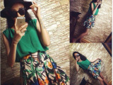 韩版女装2014夏季新款绿色褶皱雪纺背心+碎花短裙套装 两件套