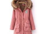羊羔绒加厚连帽大毛领棉衣女中长款韩版棉袄女潮秋冬季新款外套