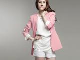 2014秋季新款韩国代购简约中长款拼色小西服休闲西装外套女韩版